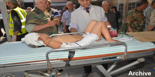 kid injured in Aleppo by terrorist rockets