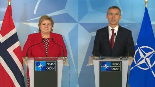 Norway Prime Minister Erna Solberg and NATO Secretary General Jens Stoltenberg